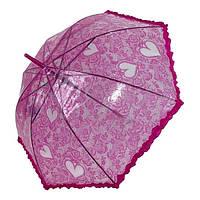 Дитячий прозорий парасольку-тростину з ажурним принтом від SL, малиновий, 18102-5