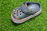 Детские шлепанцы кроксы сабо crocs для мальчика серые р18-23, фото 6