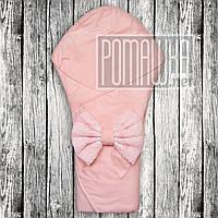 Нарядный летний конверт плед 80х80 на выписку новорожденных из роддома с кружевом на лето тонкий 7008 Розовый