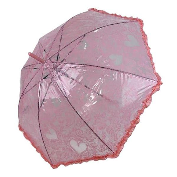 Детский прозрачный зонтик-трость с ажурным принтом от SL, розовый, 18102-6
