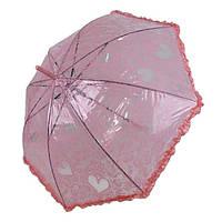 Детский прозрачный зонтик-трость с ажурным принтом от SL, розовый, 18102-6, фото 1