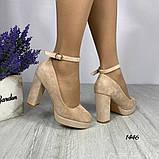 Жіночі туфлі з ремінцем на кісточці на зручному стійкому каблуці 11 см бежеві червоні, фото 7