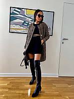 Женское стильное пальто букле на поясе, фото 1