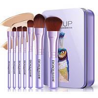 Набор кистей в металлической коробке BIOAQUA makeup brush set violet (7шт)