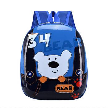 Детский рюкзак с твердым корпусом Lesko DK-12 Bear Blue для прогулок садика