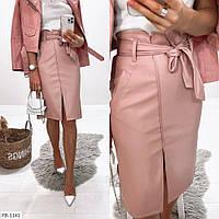 Красивая кожаная женская юбка карандаш приталенная по колено с поясом р-ры 42-46 арт. 030