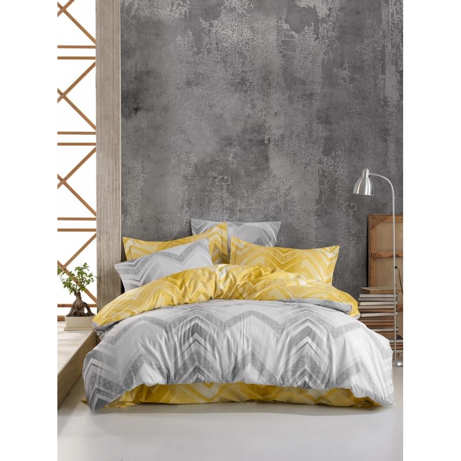 Постельное белье Lotus Home Perfect Ranforce - Gray серый евро