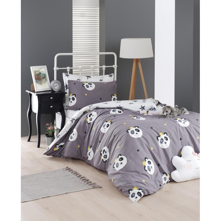 Постельное белье Lotus Home Perfect Ranforce - Panda star серый евро