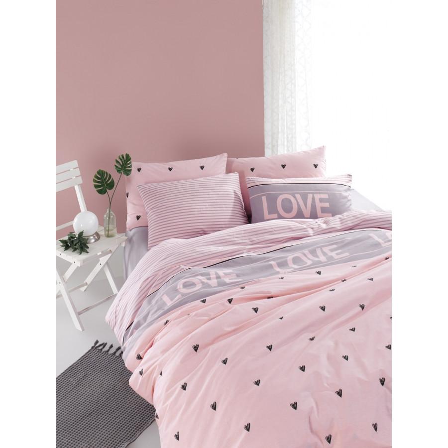 Постельное белье Lotus Home Perfect Ranforce - Love you лиловый евро