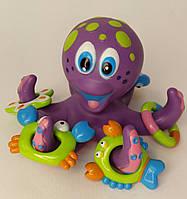 Игра K-05 для купания, осьминог, морсие обитатели, емкость 3 шт, в ведре, Игра для купания Осьминог-кольцеброс