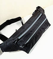 Бананка мужская/женская 4 кармана. Молодежная сумка на пояс черная 30х12х6см