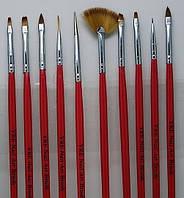 Набор кистей / кисти для дизайна наращивания маникюра росписи френча 10 шт. красные синие , фото 1