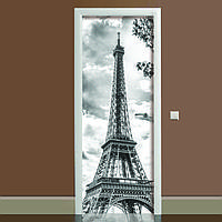 Наклейка на дверь черно-белая Эйфелева башня 650х2000мм виниловая 3Д наклейка декор самоклеящаяся