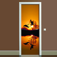 Наклейка на дверь Журавли 650х2000мм виниловая 3Д наклейка декор самоклеящаяся