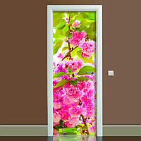 Наклейка на дверь Цветение 01 650х2000мм виниловая 3Д наклейка декор самоклеящаяся