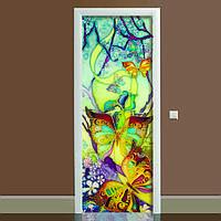 Наклейка на дверь Баттик 650х2000мм виниловая 3Д наклейка декор самоклеящаяся