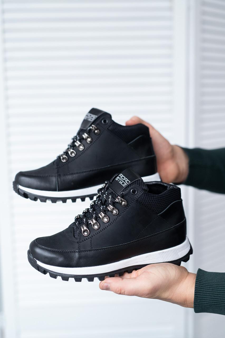 Подростковые кроссовки кожаные весна/осень черные высокие Road-style (37-41 разм)
