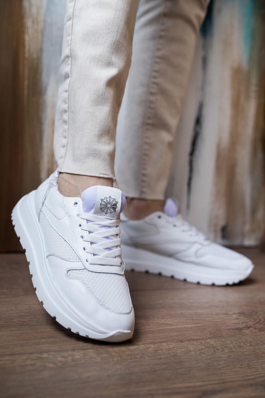 Женские кроссовки кожаные летние белые Multi-shoes RW сетка