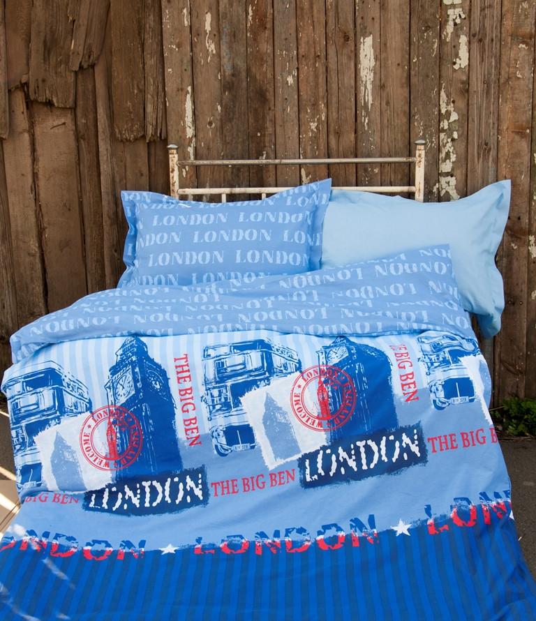 Постельное белье для подростков Lotus Premium B&G - Slang голубой