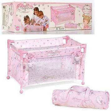 Детская кроватка-манеж для кукол цвет розовый Игрушечная кроватка манеж для кукол Кровать для куклы