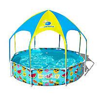 Круглый бассейн с навесом и металлическим каркасом Bestway Каркасный бассейн для всей семьи объем 1688 л