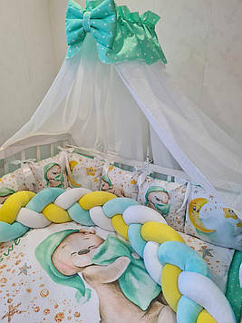 Набор постельного для детской кроватки с защитной косой и подушками, одеялом Детское постельное бельё