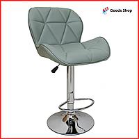 Барный стул высокий для барной стойки Кожаное барное кресло стильное со спинкой Bonro B-868M серый