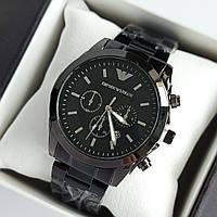 Мужские наручные часы Emporio Armani (армани) черного цвета с метками, на браслете - код 1939