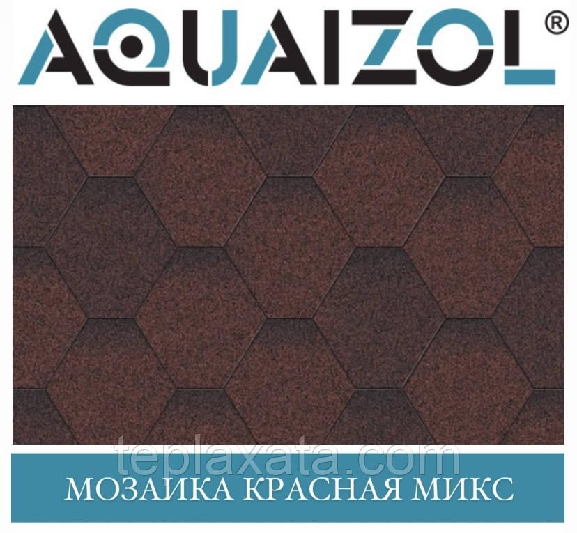 ОПТ - Акваізол СТАНДАРТ Мозаїка червоний мікс Бітумна черепиця (3 м2/уп) (тільки Харків)
