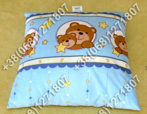 Детская подушка антиаллергенная 40х40 в кроватку (в голубых тонах)
