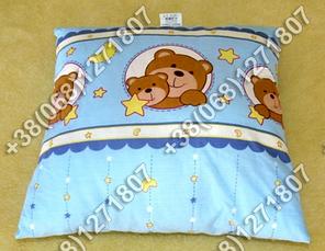 Детская подушка антиаллергенная 40х40 в кроватку (в голубых тонах), фото 2