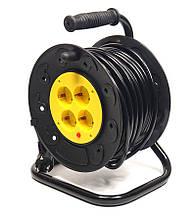 Подовжувач на котушці PowerPlant 25 м, 3x1.5мм2, 10А, 4 розетки (JY-2002/25)