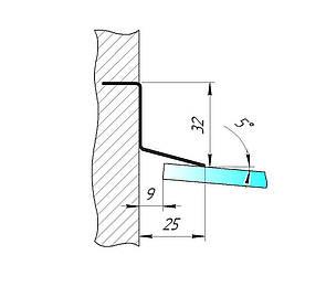 ODF-04-25-01-L2500 Отлив для стеклянного козырька S-образный для крепления в фасадный утеплитель, сатин