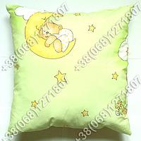 Детская подушка антиаллергенная 40х40 в кроватку (в зеленых тонах)