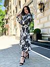 Женское Платье Миди Цветочное С Поясом Белое, фото 3