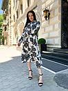 Женское Платье Миди Цветочное С Поясом Белое, фото 4