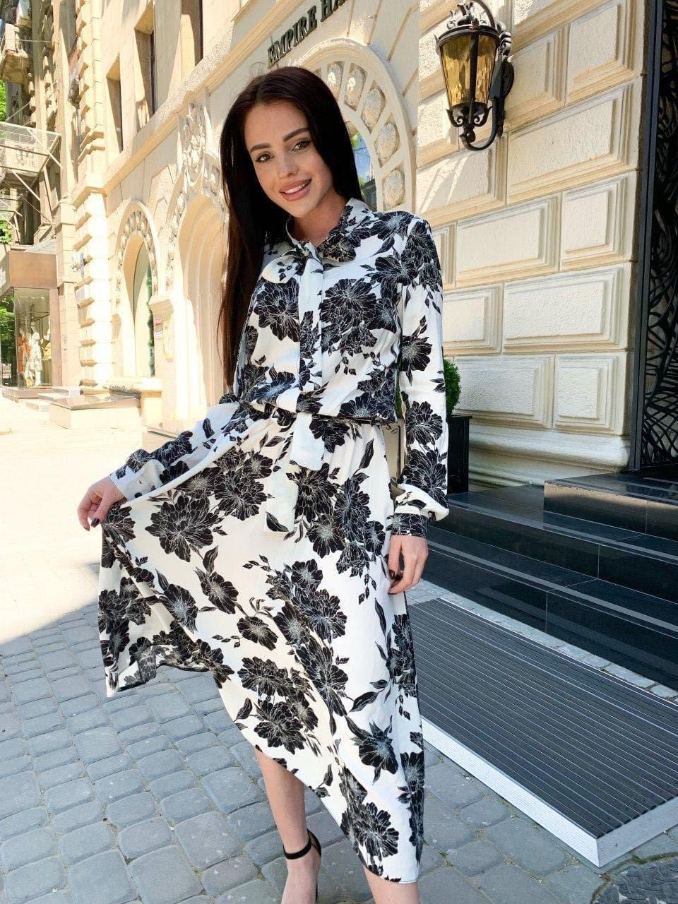 Женское Платье Миди Цветочное С Поясом Белое