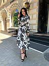 Женское Платье Миди Цветочное С Поясом Белое, фото 6