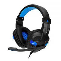 Проводная гарнитура-наушники с микрофоном SOYTO SY860MV Black + Blue гарнитура bluetooth блутуз беспроводные