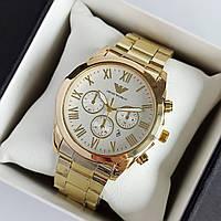 Мужские наручные часы Emporio Armani (армани) золотого цвета с белым циферблатом, римские цифры - код 1941