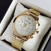 Мужские наручные часы Emporio Armani (армани) золотого цвета с белым циферблатом, цифры - код 1942