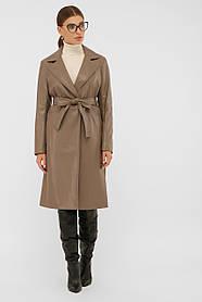 Стильный женский кожаный плащ  серо-коричневого цвета с поясом,  размеры от 42 до 50