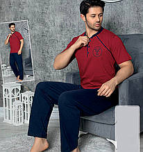 Піжама чоловіча бавовняна з брюками Seyko, костюм для будинку 9020
