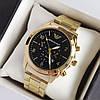 Чоловічі наручні годинники Emporio Armani (армані) золотого кольору з чорним циферблатом, цифри - код 1943