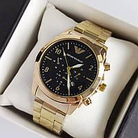 Мужские наручные часы Emporio Armani (армани) золотого цвета с черным циферблатом, цифры - код 1943