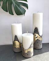 Набір із трьох свічок з бетонною основою