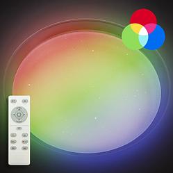 Потолочный светодиодный светильник с пультом LUMINARIA SATURN 25W RGB R330 SHINY 220V + Видео обзор