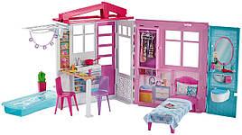 Домик для кукол Барби раскладной с мебелью и бассейном Barbie Dollhouse FXG54