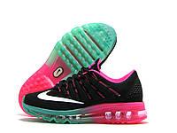 Кроссовки женские Nike Air Max черные с розовым (найк аир макс)