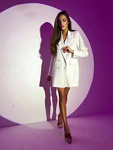 Стильное женское платье-пиджак на пуговицах 42р